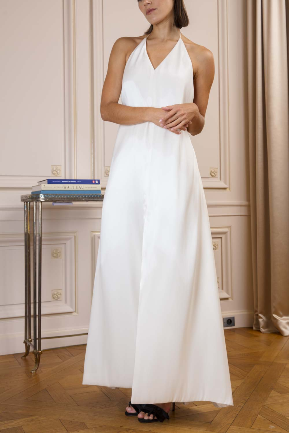 Frolov ice-white backless halter-neck dress