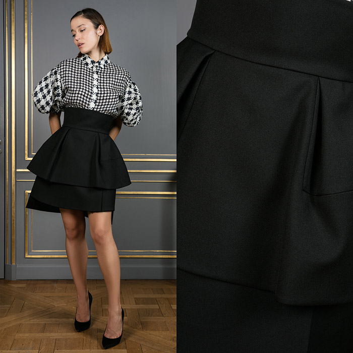 High waist mini layered skirt