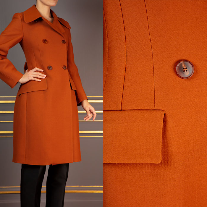 Double-breasted tailored coat in russet Cool Wool