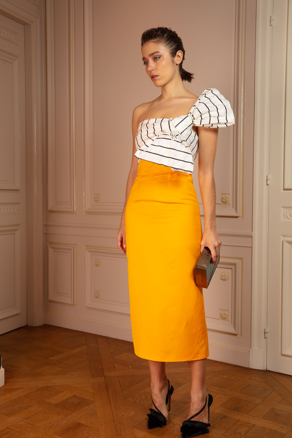 Sunflower yellow bustier pencil dress with striped couture bow