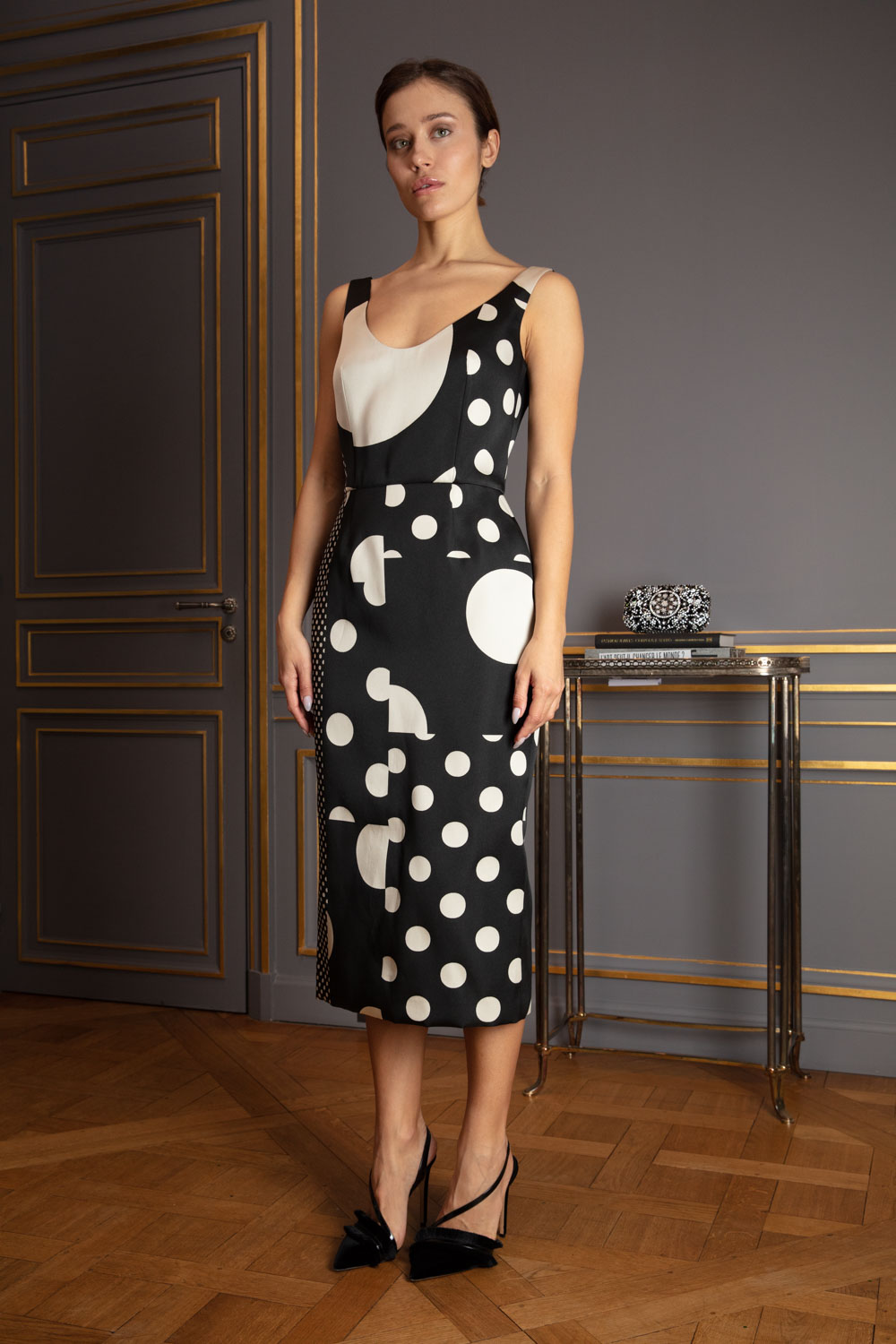 Polka dot panelled sheath dress