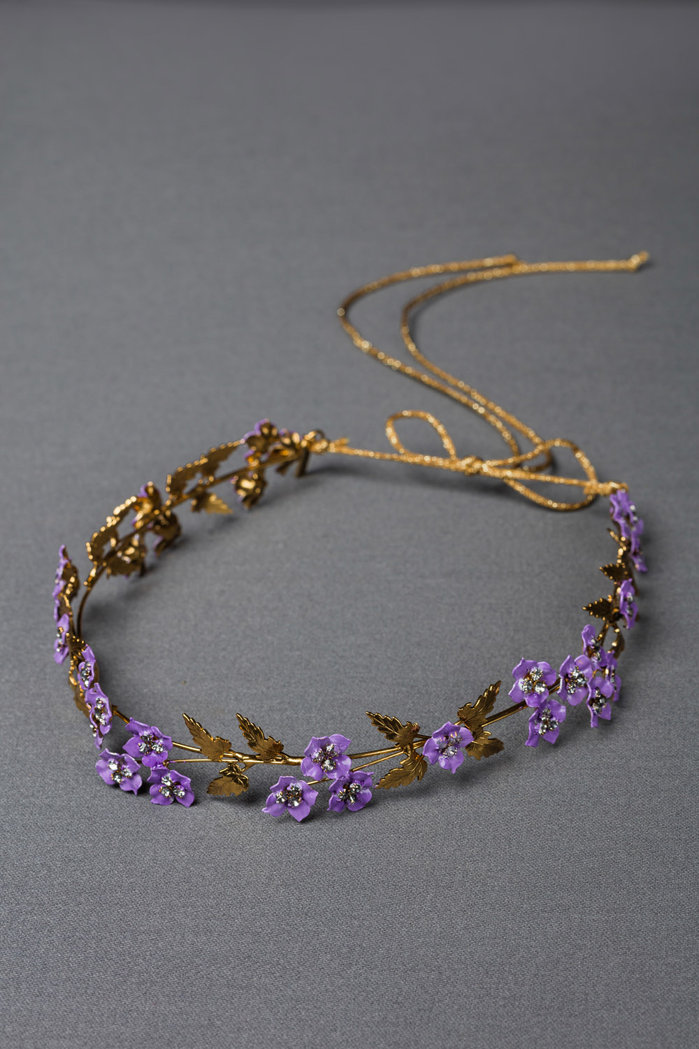 GOLD METAL LEAF AND LILAC HANDPAINTED FLOWER DECORATED HEAD PIECE