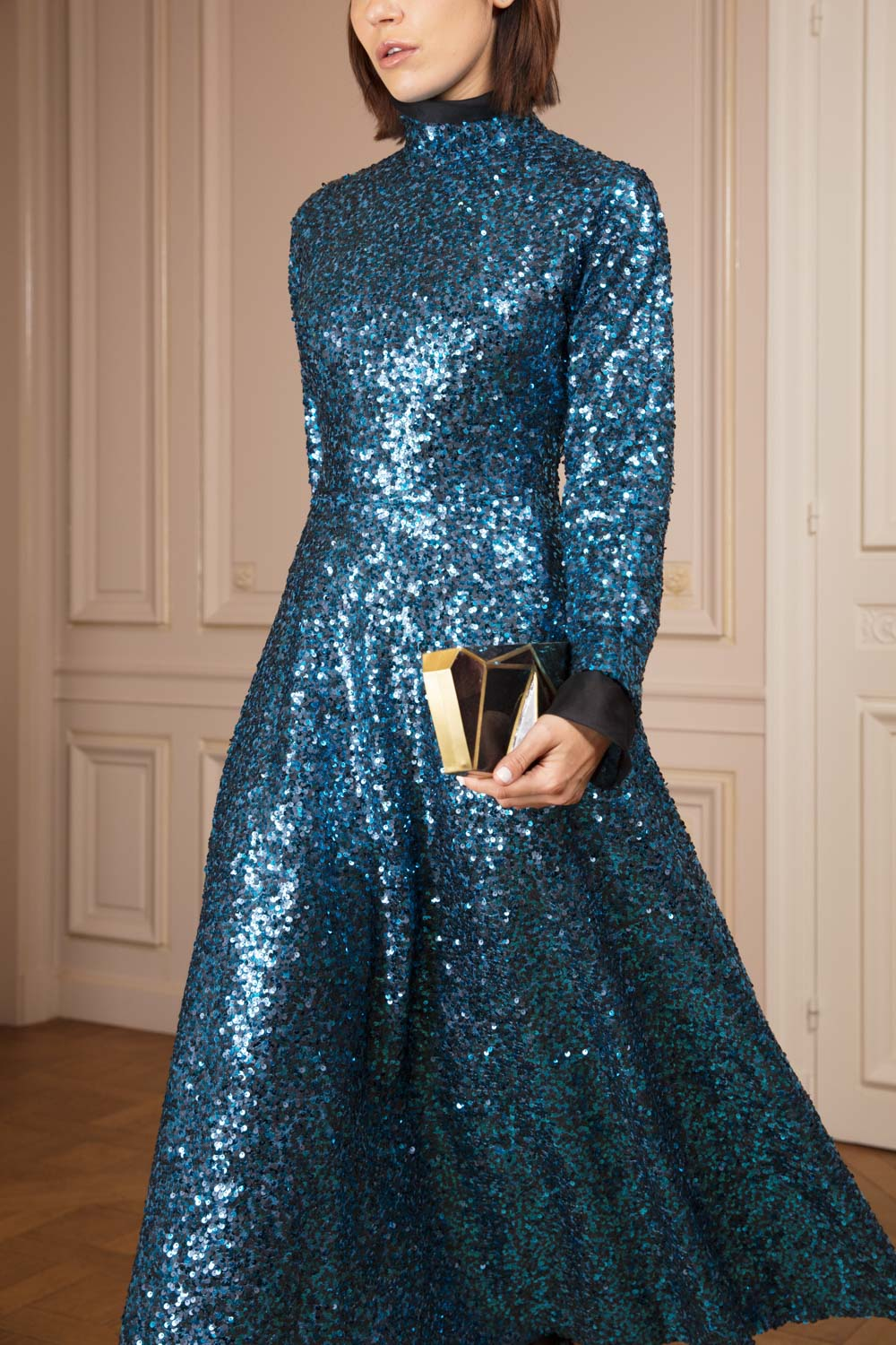 Petrol blue sequined fit-and-flare midi dress