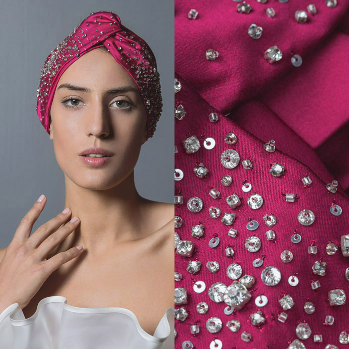 FUCHSIA RUCHED SATIN AND PEARL EMBELLISHED HEAD BAND