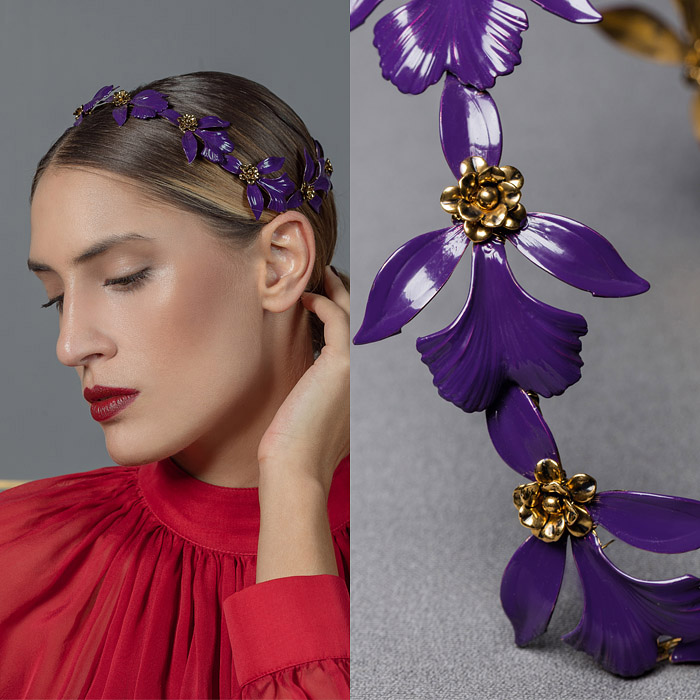 GOLD METAL FLOWER HEAD PIECE WITH HAND PAINTED VIOLET LEAVES
