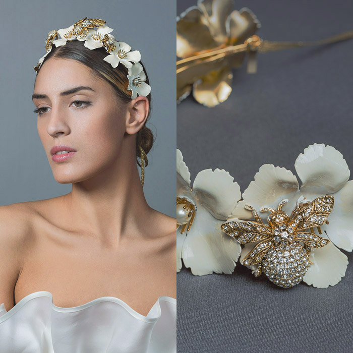 IVORY HAND PAINTED FLORAL AND GOLD METAL BUMBLE BEE SWAROVSKI CRYSTAL EMBELLESHED HEAD PIECE